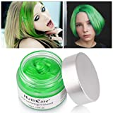 HailiCare Green Hair Wax 4.23 oz, Professional Green Hair Wax, Natural Matte Hairstyle Hair Dye Wax for Party, Cosplay (Upgrade Glass Jar) (Color: Green)