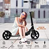 OppsDecor Adult Scooter with 3 Seconds Easy-Folding System 200mm Big Wheels Teens Commuter Scooter, 220lbs Adjustable City Scooter Age 8 Up (Black) (Color: Black)