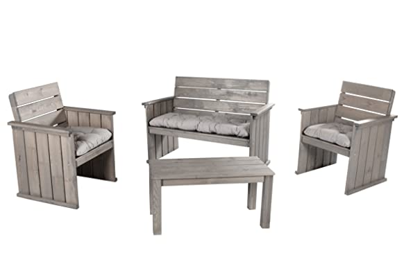 Ambientehome 90453100x 50cm Europa in legno massello mobili salotto da giardino con cuscini di seduta con tavolino–cenere grigio ( pezzi)