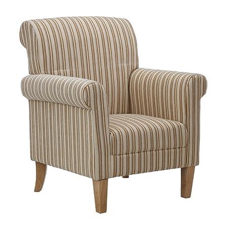 Protege Homeware Cream Stripe Arlington Feature Chair