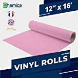 CHEMICA FirstMark HTV, Heat Transfer Vinyl 12 Inches by 16 Feet Roll for T-Shirts, Iron-On, Flexible, Compatible with Cricut, Silhouette Cameo/Portrait, Easy to Weed, PVC (Pink, 12