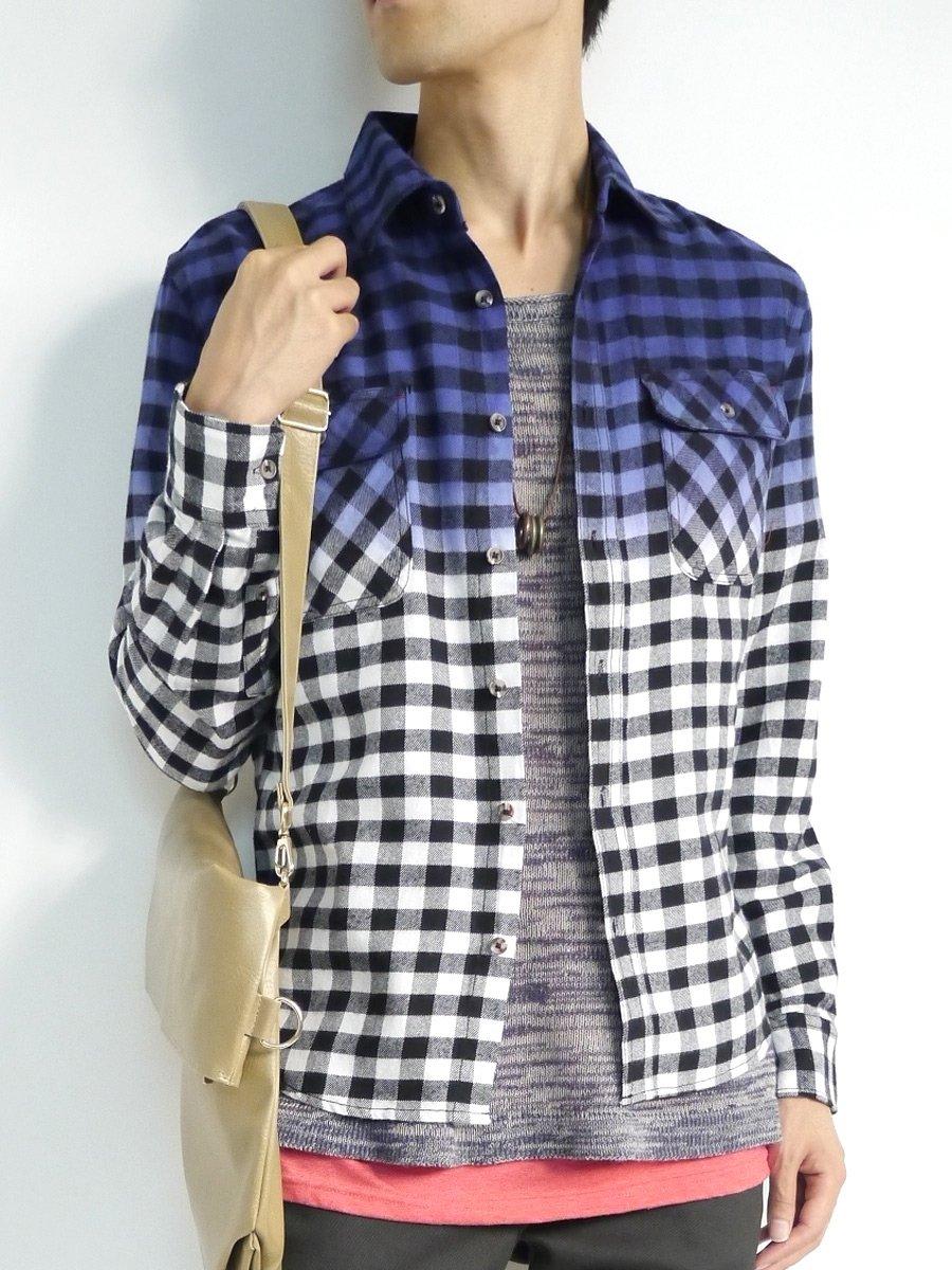 (モノマート) MONO-MART 4色 グラデーション チェック シャツ 起毛 フランネルシャツ 長袖 メンズ