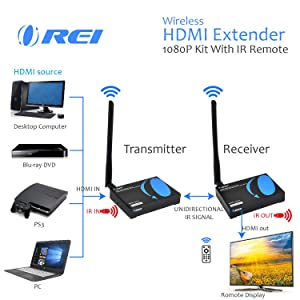 OREI Wireless HDMI Transmitter Receiver Extender 1080P Kit with IR Remote - Up to 165 Ft - 5 Ghz Frequency - Perfect for Streaming from Laptop, PC, Cable, Netflix, YouTube, PS4 to HDTV/Projector (Color: Black, Tamaño: Wireless Extender - 165 Feet)