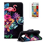 Funyye Premium Wallet Leather Case for Moto G6,Cute Flamingos Pattern Multifunctional Magnetic Flip with Stand Credit Card Holder Slots Soft Silicone PU Leather Case for Moto G6