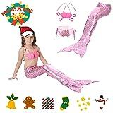 SIXONE 3PCS Girls Swimsuit Princess Mermaid Tail Beach Swimwear Set For Kids colorful With Hair Clip, Pink
