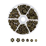 Pandahall 1Box/180pcs Tibetan Style Alloy Flower Petal Bead Caps Beads Spacers for Jewelry Makings 6~10mm in Diameter Antique Bronze (Color: 6~10mm-bronze, Tamaño: one size)