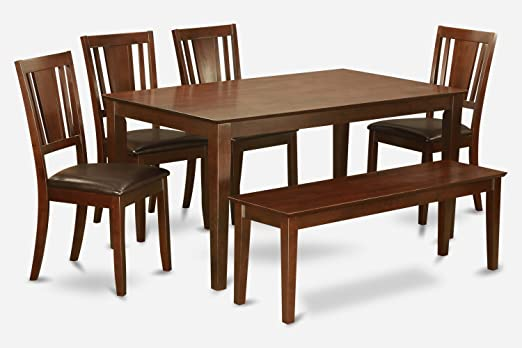 East West Furniture CADU6C-MAH-LC 6-Piece Kitchen Table with Bench
