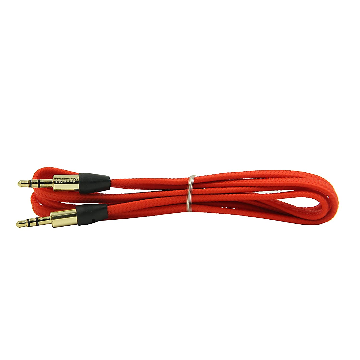 Honsky - Grade A Braided 3FT/1M 3.5mm Male to Male Gold Plate Car Aux Audio Cord - 3.5mm Flat Noodle Braided Design Audio Cable 3 5mm male to 3 5mm male audio car aux earphone cable red white black 120cm