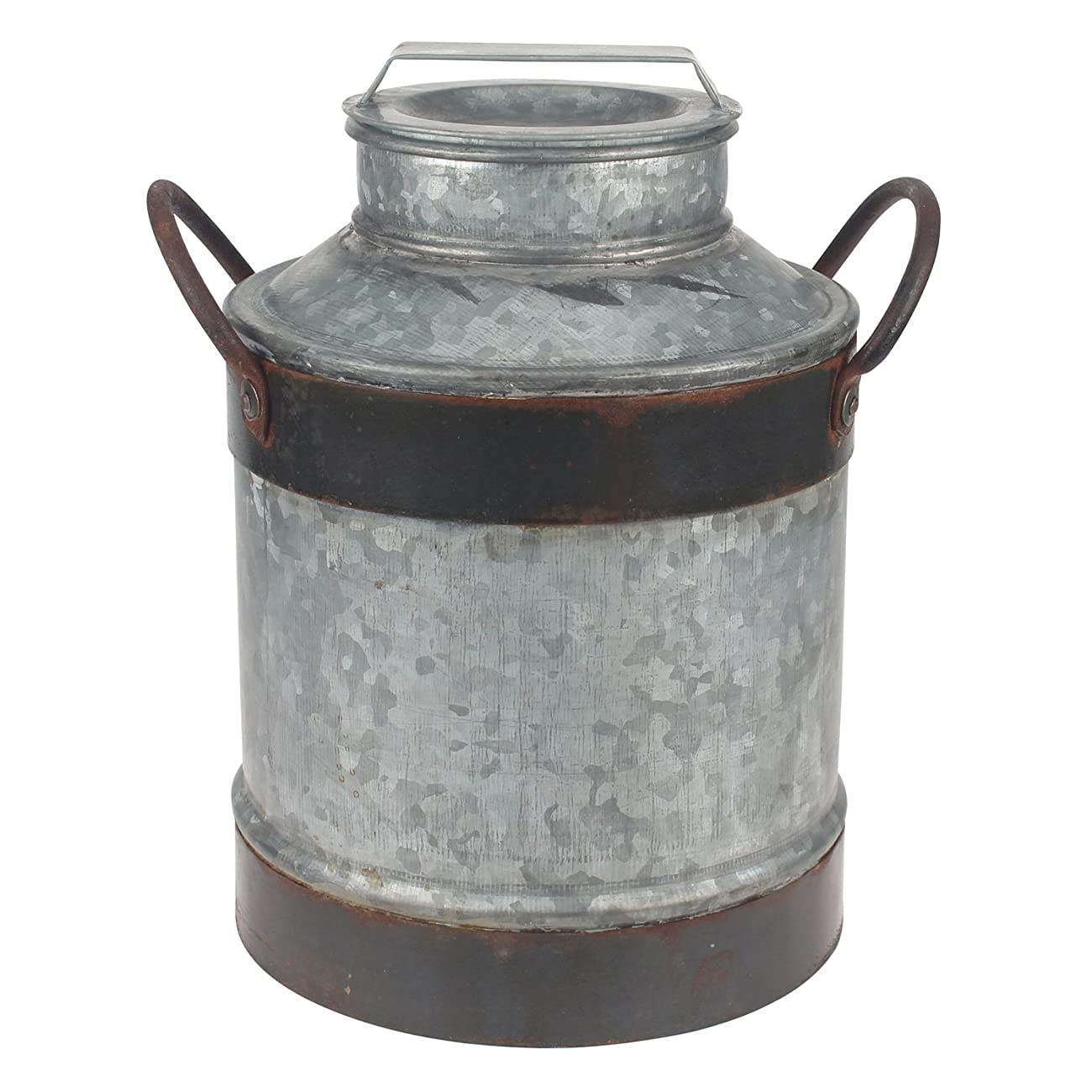 Stonebriar Large Aged Galvanized Milk Can with Rust Trim and Handles 0