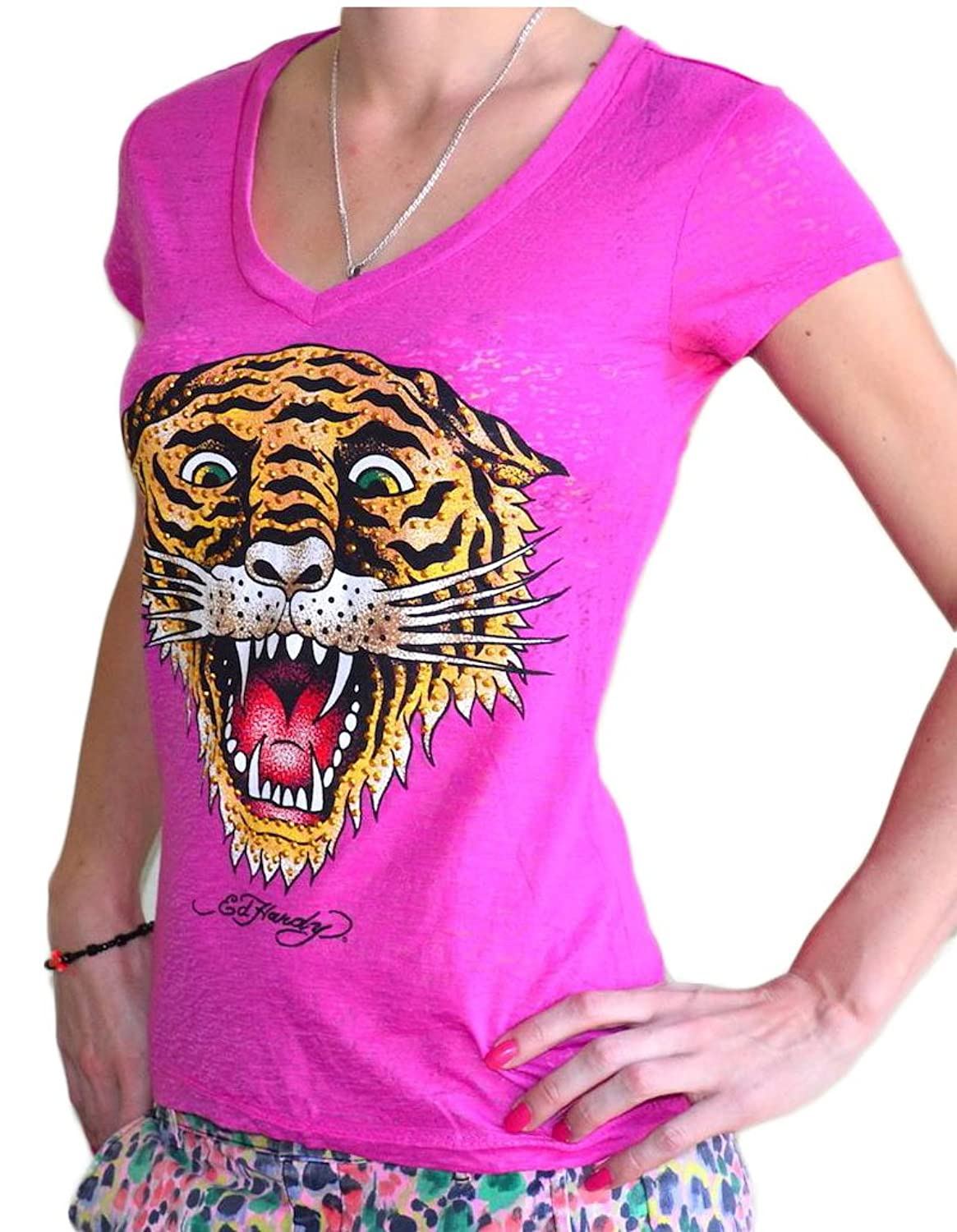 Ed Hardy Women's V-Neck Tiger Graphic Tee T-Shirt Pink