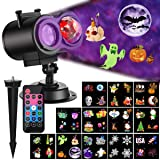Ocean Wave Christmas Projector Lights 2-in-1 Moving Patterns with Ocean Wave LED Landscape Lights Waterproof Outdoor Indoor Xmas Theme Party Yard Garden Decorations, 12 Slides 10 Colors (Black) (Color: Black)