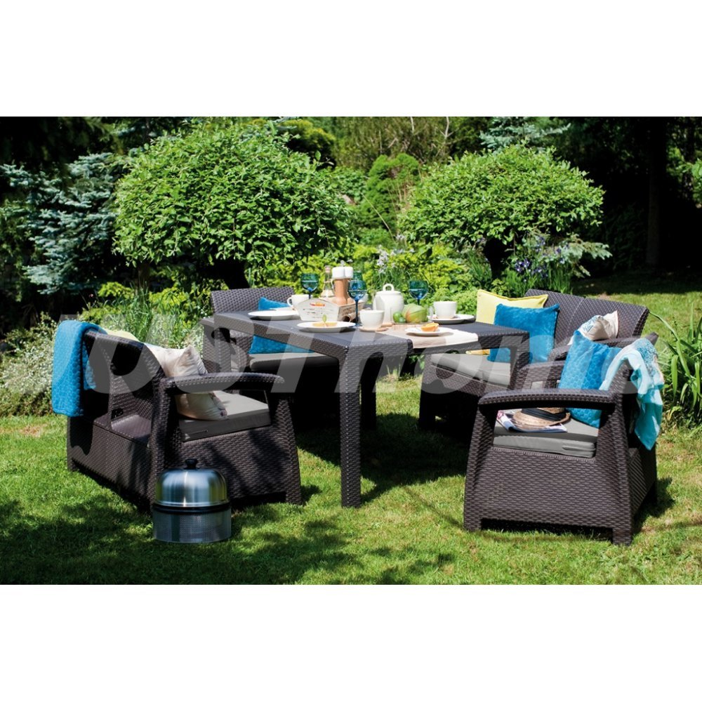 JUSThome Fiesta Gartenmöbel Sitzgruppe Gartengarnitur Set 2x Sessel + 2x Sofa + Tisch in Rattan-Optik Braun Taupe