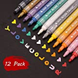 Paint Pens for Rocks Painting, Glass, Metal, Canvas, Easter Egg, Wood, Ceramic, Fabric, Scrapbooking, Photo Album, DIY Craft Supplies, Set of 12 Colors Permanent Acrylic Marker, Medium Tip (Color: 12Pcs Acrylic Markers)