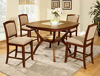 5 Pc. Redding II transitional style oak finish wood counter height dining table with a cracked glass insert and center lower shelf