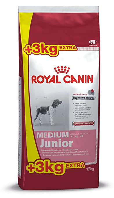 croquettes chiot medium junior royal canin 15 kg 3 kg offerts. Black Bedroom Furniture Sets. Home Design Ideas