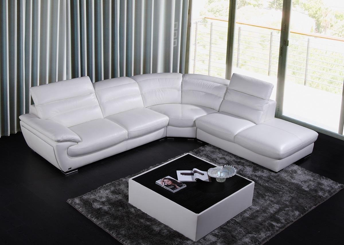 8468 White Eco-Leather Living Room Sectional Sofa With Adjustable Headrests