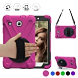 BRAECN Galaxy Tab E 8.0 Case 360 Degree Rotation Stand/a Hand Strap and a Shoulder Strap Case [Shock Proof] Hybrid pc+Silicone Cover for Sansung Galaxy Tab E 8.0 SM-T377/T375 Case (Rose red) (Color: Rose red)