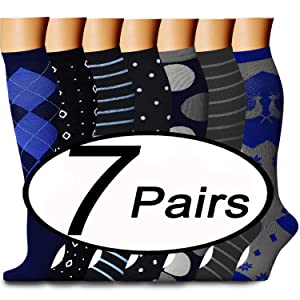 CHARMKING Compression Socks 15-20 mmHg is BEST Graduated Athletic & Medical for Men & Women Running, Travel, Nurses, Pregnant - Boost Performance, Blood Circulation & Recovery(Small/Medium,Assorted13) (Color: 06 Navy/Black/Black/Black/Gray/Gray/Blue, Tamaño: Small/Medium (US Women 5.5-8.5/US Men 5-9))