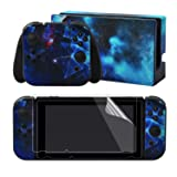 eXtremeRate Multidimensional Galaxy Print Decals Stickers Full Set Faceplate Skins +2Pcs Screen Protector for Nintendo Switch/NS Console & Joy-con Controller & Dock Protection Kit (Color: Multidimensional Galaxy)