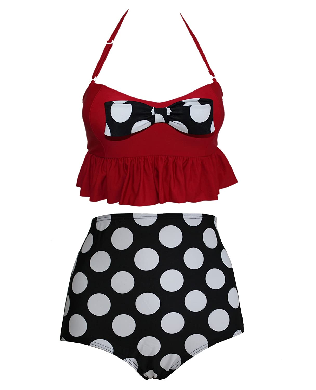 cocoship-retro-hot-red-high-waist-bikini-polka-dot-vintage-swimwear-swimsuits-fba