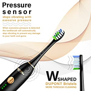 WAGNER Switzerland WHITEN+ EDITION. Smart electric toothbrush with PRESSURE SENSOR. 5 Brushing Modes and 3 INTENSITY Levels, 8 DuPont Bristles, Premium Travel Case, USB Wireless charging. (Color: Black)