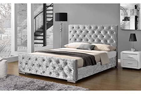 Buckingham Stoff gepolsterten Silber Crushed Samt Bett–Doppelbett