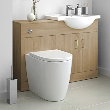 1138mm Oak Vanity Basin Unit Sink & Back to Wall Curved Toilet Furniture Set