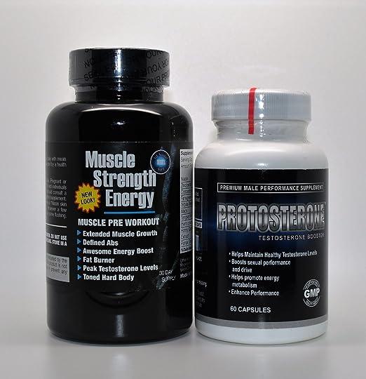 Progain 350 Neues Aussehen Muskelkraft Energie Muskel Pre Training & Protosterone Testosteron Booster 60 Kapseln Fitnessstudio & Muskel Set