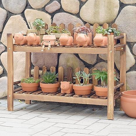 70 * 28 * 51 Cm, zwei Schichten von Massivholz Blumenrahmen Boden Holz Blumen Regal Balkon Wohnzimmer Innenraum