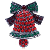 SoulBreeze Merry Christmas Jewelry Poinsettia Flower Tree Candy Cane Charm Brooch Pin (Bell B)