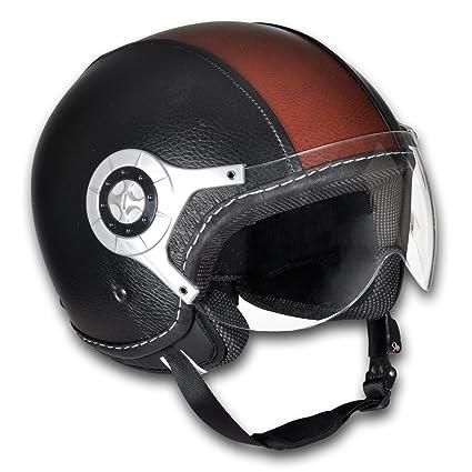 Casque moto en cuir noir et brun Taille L