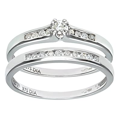 Naava 9ct White Gold Channel Set 0.25ct Princess Cut Diamond Bridal Set Ring
