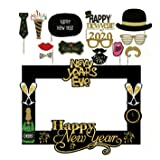SWYOUN 14PCS Glitter 2020 Happy New Year's Eve Party Photo Booth Props Supplies with Photo Frame (Color: Gold)