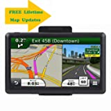 7.1 Inch GPS Navigator, 2019 Updated Lifetime Navigation Stereo System Touch Screen with Large 8GB Memory Multi Language Maps Spoken for Car Vehicle Truck Taxi . (Color: Black 001)