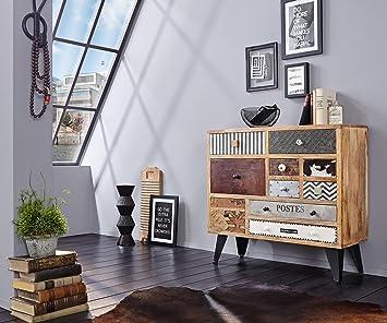 Kommode Himalaya Akazie Mehrfarbig 90 cm 10 Schubladen Massivholz Sideboard
