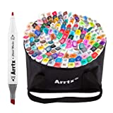 Arrtx 168 Colors Alcohol Based Dual Tip Markers Set, Artist Sketch Marker Pen with Marker Carry Bag for Graphic Drawing Painting Design Coloring Highlighting (Color: 168 Colors)