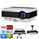 Smart HD Projector with Wifi Bluetooth HD 1080P Supported, WXGA 3900lumens LCD LED Android Home Theater Projector Wireless Airplay Screen Cast (HDMI/USB/VGA/AV/RCA Audio) for TV Gaming Outdoor Movies (Color: Bluetooth/Wireless/3900lumens-eug X88+ab)