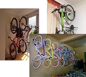 Dirza Bike Rack Garage Wall Mount Bike Hanger Storage System Vertical Bike Hook for Indoor Shed - Easily Hang/Detach - Heavy Duty Holds up to 65 lb with Screws Black (Color: 1 pack)
