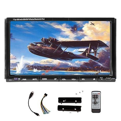 Remoto de contr?le de PC incluido Nuevo HD Modelo 7 pulgadas LCD Double de 2 DIN en el tablero estšŠreo coches Lecteur DVD AUX tš¢ctil moniteur LCD con AUX MP4 CD MP3 AM FM RDS Moniteur de Radio Bluetooth Audio HD: 800 * 480 Sali