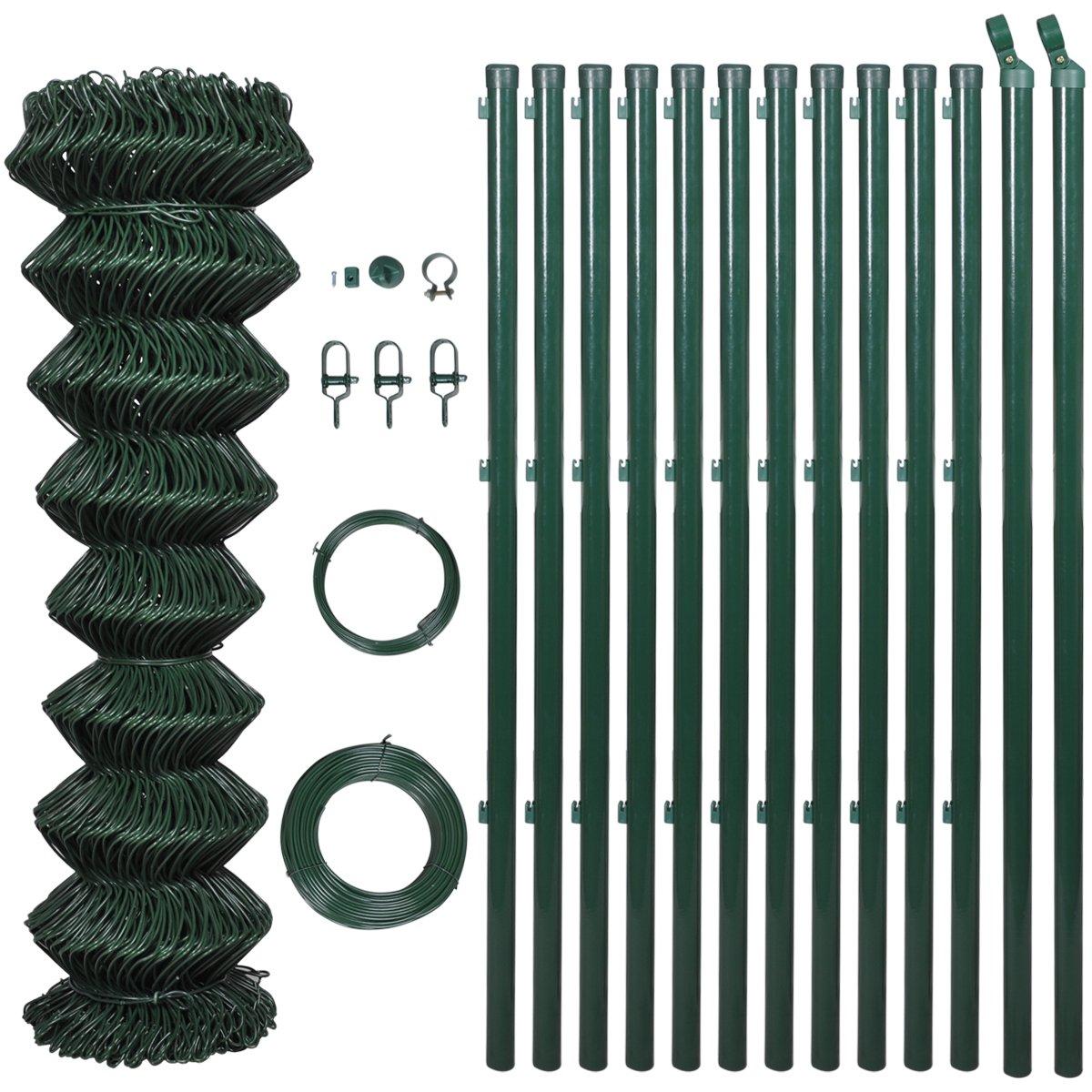 Maschendrahtzaun Set 1,25 x 25 m grün ZaunSET Maschendraht Draht mit Montage   Kritiken und weitere Informationen