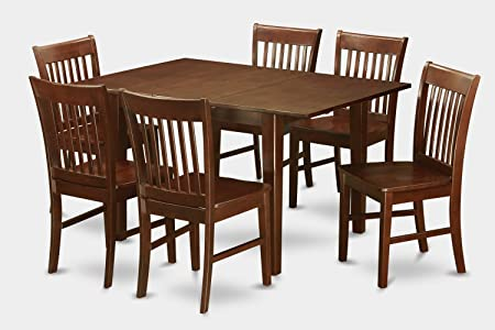 East West Furniture MLNO7-MAH-W 7-Piece Kitchen Nook Dining Table Set