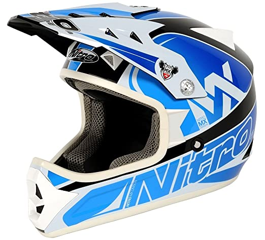 NITRO 187166L82 Casque Moto Raider Junior Bleu