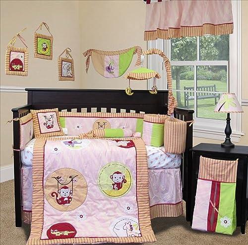 custom baby bedding jungle monkey pink 15 pcs crib bedding