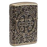 Zippo St Benedict Design Pocket Lighter (Color: Antique Brass)