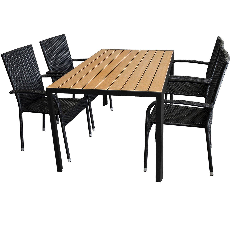 5tlg. Gartengarnitur Aluminium Gartentisch 150x90cm mit Polywood Tischplatte Golden Teak stapelbare Polyrattan Gartenstühle
