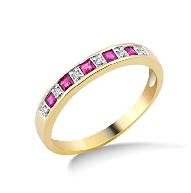 Miore 9ct Yellow Gold Ruby and Diamond Eternity Ring MG9133R