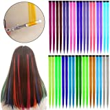 Beautymood 36PCS Colorful Clip In Hair Extensions, Party Highlights Colorful Clip In Synthetic Hair Extensions Hair Straight Long Hairpiece Rainbow Colored Synthetic Hairpieces 18 Colors (Color: 36pcs 18 Colors)