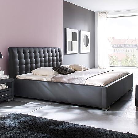 Polsterbett Kunst-Lederbett Schwarz Bett Doppelbett Bettgestell Ilka Komforthöhe, Größe:180x200 cm