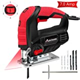 Jig Saw, Avid Power 7.0A 3000 SPM Jigsaw with Laser Guide, Variable Speed, Bevel Angle (0°-45°), 6PCS Blades and Scale Ruler, AJS268