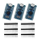 Keywish 3pcs Pro Micro ATmega32U4 5V/16MHz Development Board With 2 Row Pin Header for Arduino Leonardo Replace ATmega328 Arduino Pro Mini